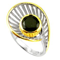 Natural black onyx 925 sterling silver 14k gold ring jewelry size 7 c23881