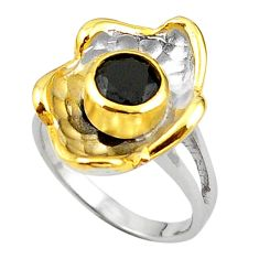 Natural black onyx 925 sterling silver 14k gold ring jewelry size 7 c23971