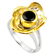 Natural black onyx 925 sterling silver 14k gold ring jewelry size 8 c23970