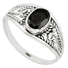 1.42cts natural black onyx 925 silver graduation handmade ring size 7 t9279