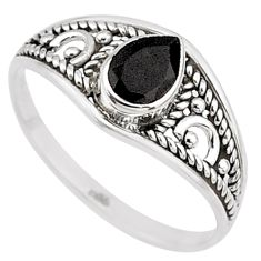 1.57cts natural black onyx 925 silver graduation handmade ring size 9 t9264