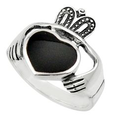 3.90cts natural black onyx 925 sterling silver heart mens ring size 9 c9784