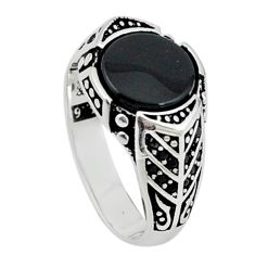 Natural black onyx 925 sterling silver mens ring jewelry size 9.5 c11495