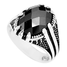 6.80cts black onyx 925 sterling silver mens ring jewelry size 9 c11475