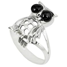 1.45cts natural black onyx 925 sterling silver owl ring jewelry size 6.5 c12243