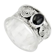 2.13cts natural black onyx 925 sterling silver ring jewelry size 8.5 r44262
