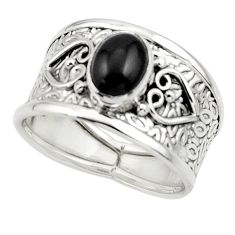 2.06cts natural black onyx 925 sterling silver ring jewelry size 8.5 r44287