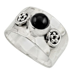 1.41cts natural black onyx 925 sterling silver ring jewelry size 7.5 r44301