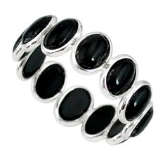 6.58cts natural black onyx 925 sterling silver ring jewelry size 6.5 r88338
