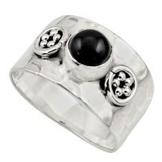 1.32cts natural black onyx 925 sterling silver ring jewelry size 7 r44304