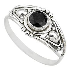 0.81cts natural black onyx 925 silver graduation handmade ring size 8.5 t9740