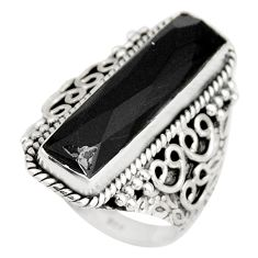 6.89cts natural black onyx 925 sterling silver solitaire ring size 7.5 r21363