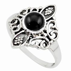 1.16cts natural black onyx 925 sterling silver solitaire ring size 6.5 r35907