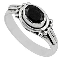 1.63cts natural black onyx 925 sterling silver solitaire ring size 6.5 r54406