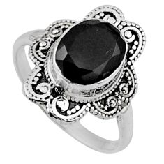 4.06cts natural black onyx 925 sterling silver solitaire ring size 8.5 r54487