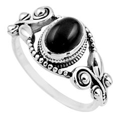 1.90cts natural black onyx 925 sterling silver solitaire ring size 8.5 r54535