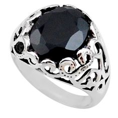 5.31cts natural black onyx 925 sterling silver solitaire ring size 7.5 r54608