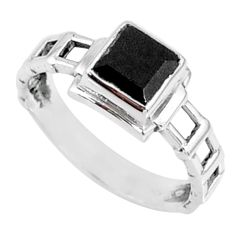 1.39cts natural black onyx 925 sterling silver solitaire ring size 7.5 r68729