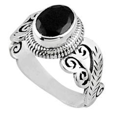 2.01cts natural black onyx 925 sterling silver solitaire ring size 6 r54472