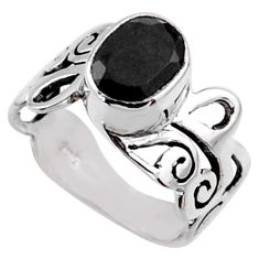 3.02cts natural black onyx 925 sterling silver solitaire ring size 6 r54698