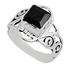 2.71cts natural black onyx 925 sterling silver solitaire ring size 7 r54435