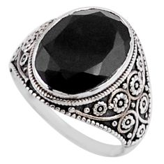 6.57cts natural black onyx 925 sterling silver solitaire ring size 7 r54634