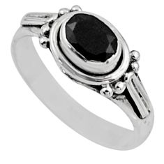 1.56cts natural black onyx 925 sterling silver solitaire ring size 8 r54407