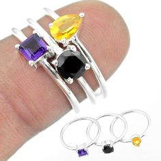 2.97cts natural black onyx amethyst citrine 925 silver 3 rings size 6 t51056
