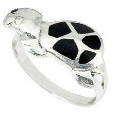 3.02gms natural black onyx enamel 925 silver tortoise ring size 7 c11932