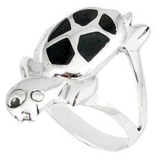 3.69gms natural black onyx enamel 925 silver tortoise ring size 7 c11938