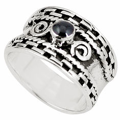 6.87gms natural black onyx enamel 925 sterling silver ring jewelry size 8 c12010