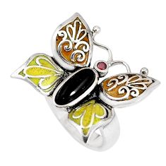 2.01cts natural black onyx garnet enamel 925 silver butterfly ring size 6 c21396