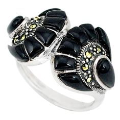 Natural black onyx marcasite 925 sterling silver ring size 6.5 c17611
