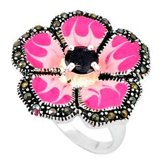 Natural black onyx marcasite enamel 925 silver flower ring size 6.5 c18290