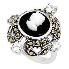 6.54cts natural black onyx pearl enamel 925 silver lady face ring size 7 c21412