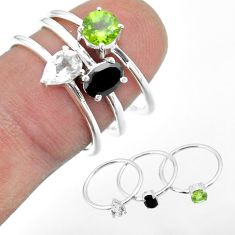 2.97cts natural black onyx peridot topaz sterling silver 3 rings size 7 t51096