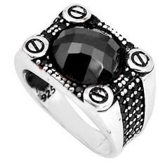 6.67cts natural black onyx topaz 925 sterling silver mens ring size 9.5 c11342