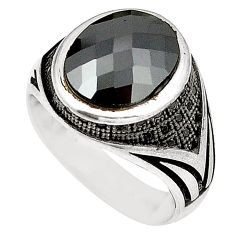 Natural black onyx topaz 925 sterling silver mens ring size 8.5 c11486