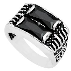 Natural black onyx topaz 925 sterling silver mens ring size 8.5 c11414