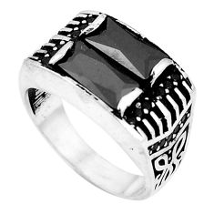 Natural black onyx topaz 925 sterling silver mens ring size 8.5 c11412
