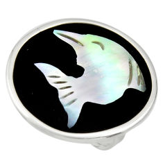 11.73cts natural black opal cameo on onyx 925 silver dolphin ring size 5.5 c9802