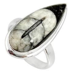 12.36cts natural black orthoceras 925 silver solitaire ring size 7.5 r34326