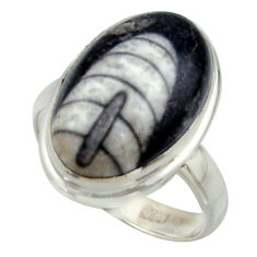 11.48cts natural black orthoceras 925 sterling silver ring jewelry size 8 r42631
