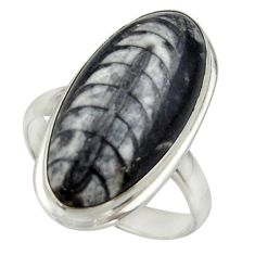 14.93cts natural black orthoceras 925 sterling silver ring size 8.5 r42640