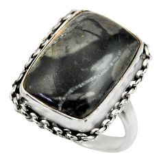 13.34cts natural black picasso jasper 925 silver solitaire ring size 8.5 r28421