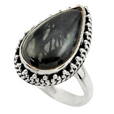 8.61cts natural black picasso jasper 925 silver solitaire ring size 8.5 r28425
