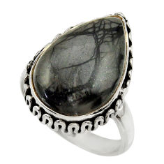 13.31cts natural black picasso jasper 925 silver solitaire ring size 7.5 r28427