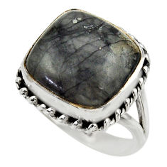 12.56cts natural black picasso jasper 925 silver solitaire ring size 8.5 r28430