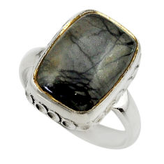 6.95cts natural black picasso jasper 925 silver solitaire ring size 6.5 r28438