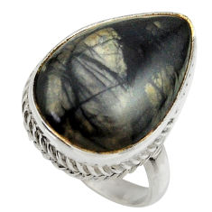 15.77cts natural black picasso jasper 925 silver solitaire ring size 8.5 r28646